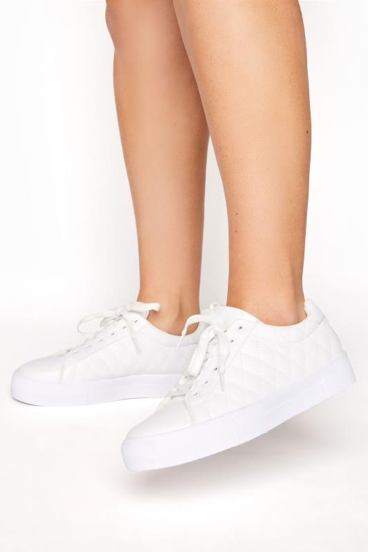 Plus Size  LIMITED COLLECTION White Quilted Trainers In Wide Fit