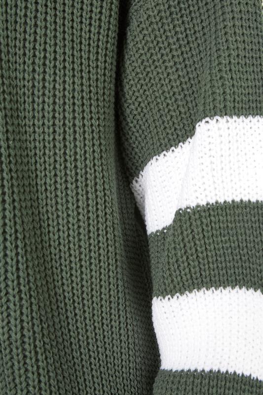Khaki Varsity Stripes Knitted Cardigan_S.jpg