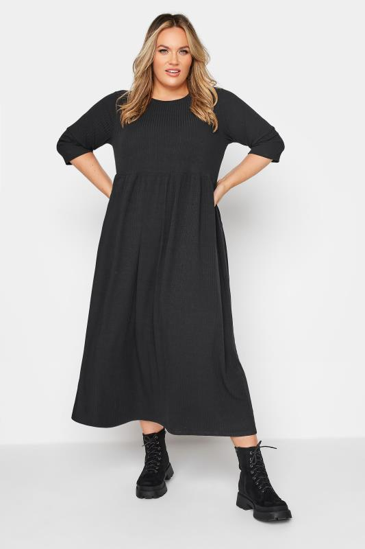 Plus Size  LIMITED COLLECTION Black Ribbed Midi Dress