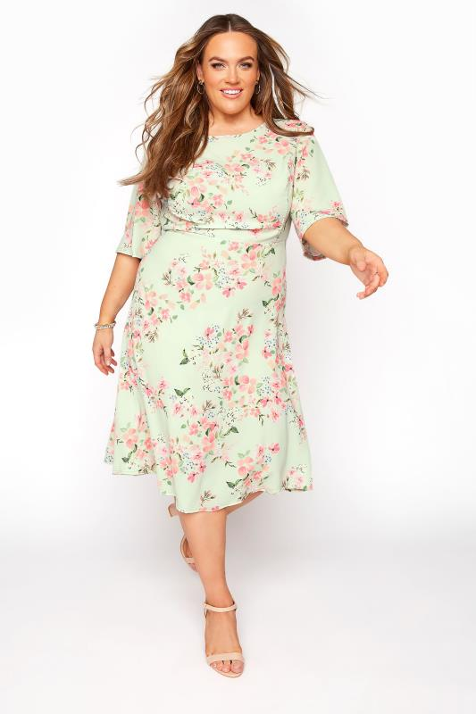 dla puszystych YOURS LONDON Sage Green Floral Dress