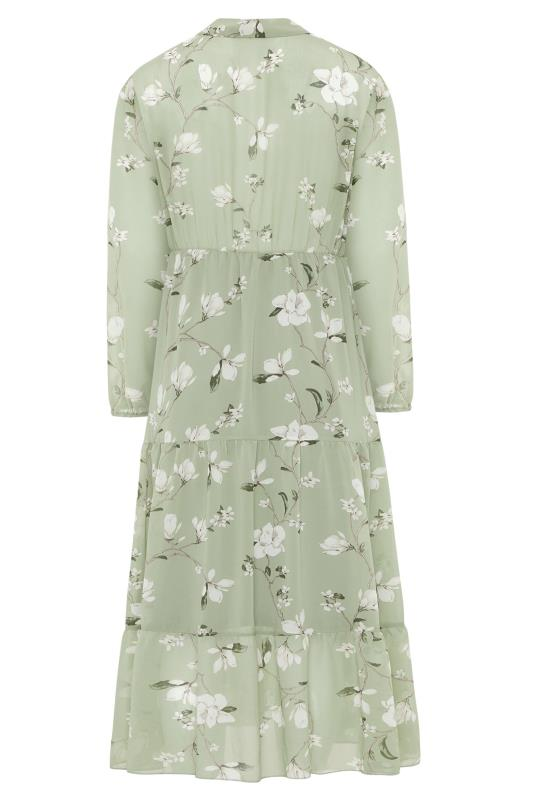 YOURS LONDON Sage Green Floral Bow Smock Dress_BK.jpg