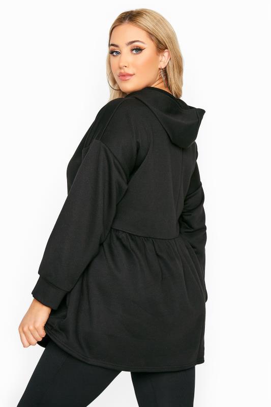 Plus Size  Black Peplum Hoodie