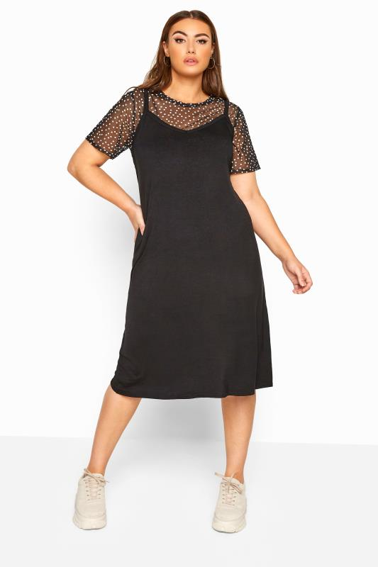 LIMITED COLLECTION 2 in 1 Black Polka Dot Mesh Top Midi Dress
