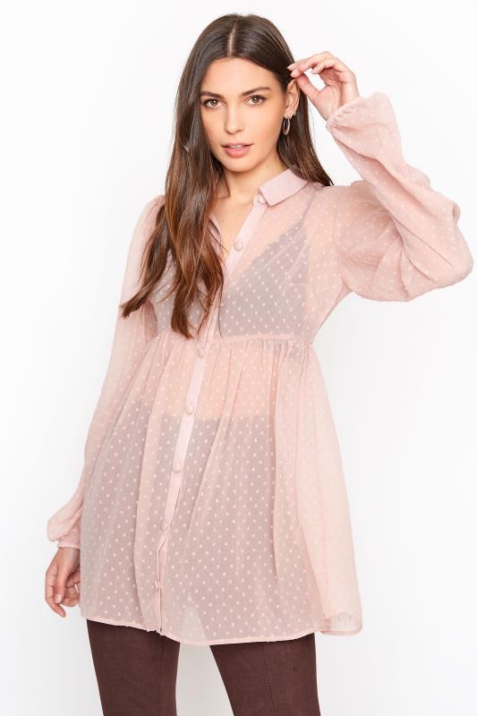 LTS Pink Peplum Dobby Chiffon Shirt