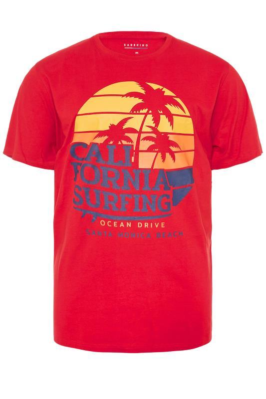 Men's  BadRhino Red California Surfing T-Shirt