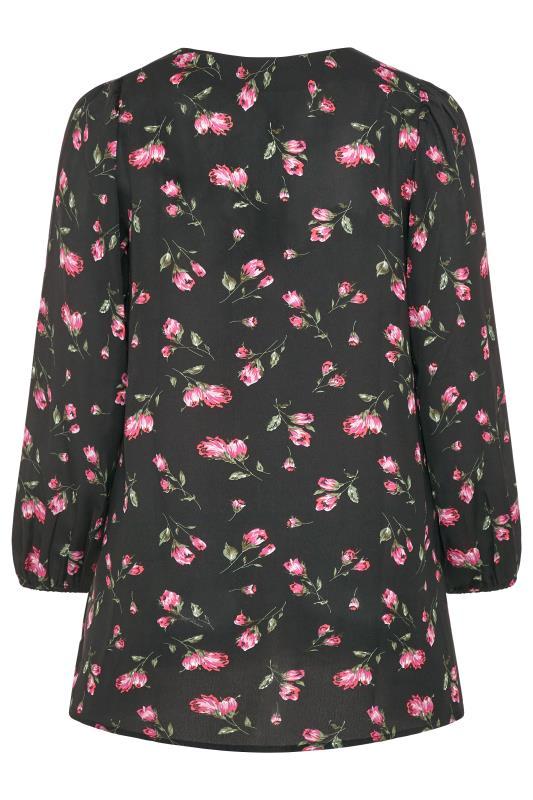 Black Floral Button Balloon Sleeve Blouse