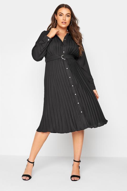 Plus Size  YOURS LONDON Black Pleat Midi Shirt Dress