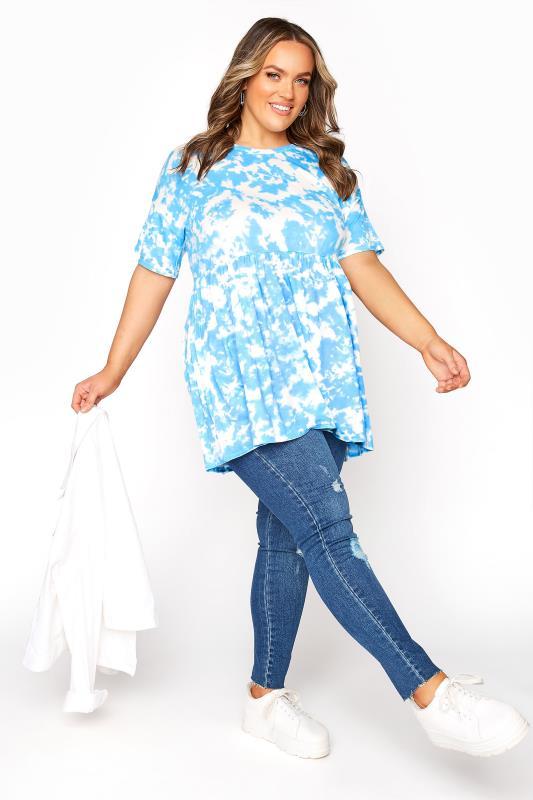 Blue Tie Dye Drop Shoulder Peplum Tunic