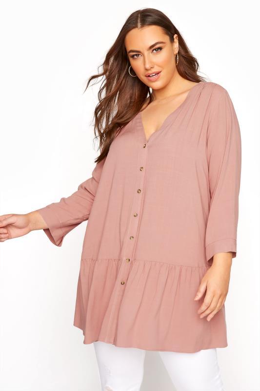 Plus Size  Pink Drop Waist Blouse