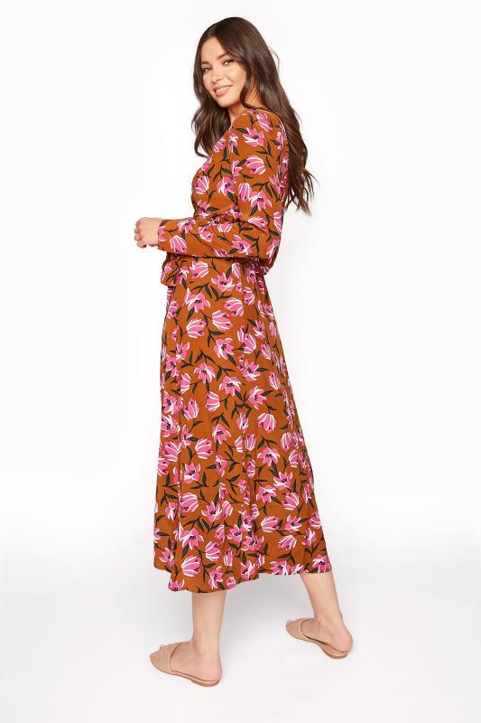 Brown Floral Print Wrap Midi Dress_C.jpg