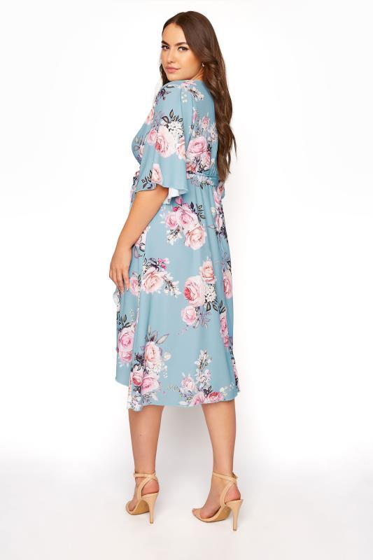 YOURS LONDON Blue Floral Wrap Midi Dress_C.jpg