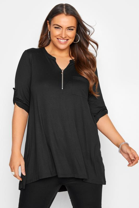 Plus Size Smart Jersey Tops Black Zip Front Longline Top
