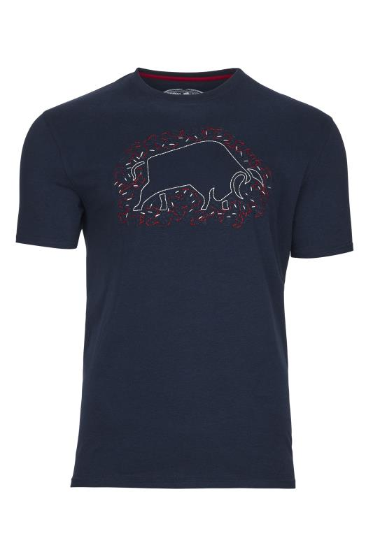 Plus Size  RAGING BULL Navy Scatter Stitch T-Shirt
