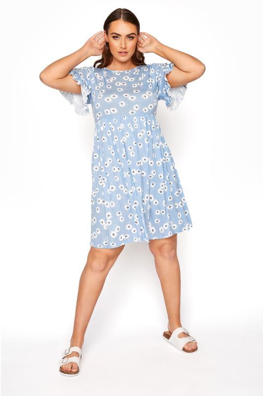 Plus Size  Pastel Blue Floral Frill Sleeve Dress