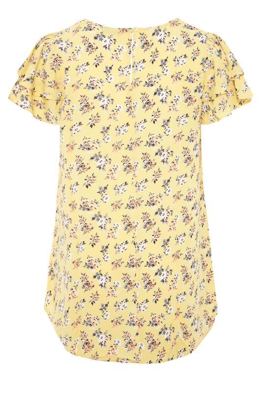 Yellow Floral Print Dipped Hem Blouse_BK.jpg