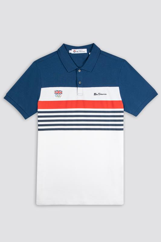 Men's  BEN SHERMAN White Official Olympic Chest Stripe Polo