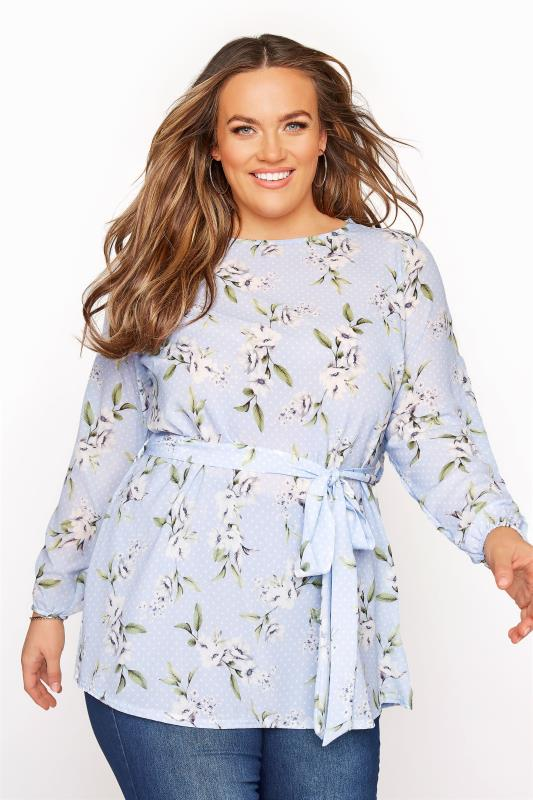YOURS LONDON Light Blue Floral Belted Blouse