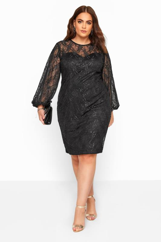 Plus Size Casual / Every Day CHI CHI Black Sequin Embroidered Balloon Sleeve Dress