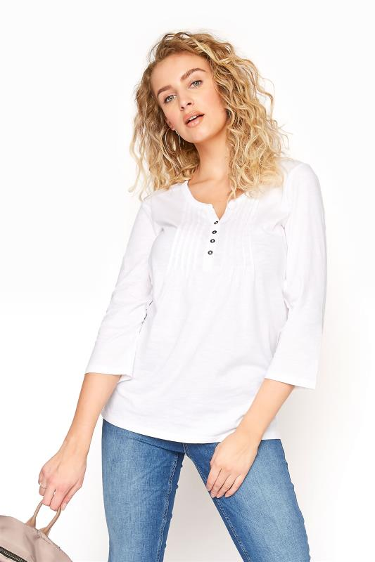LTS White Pleated Henley Top