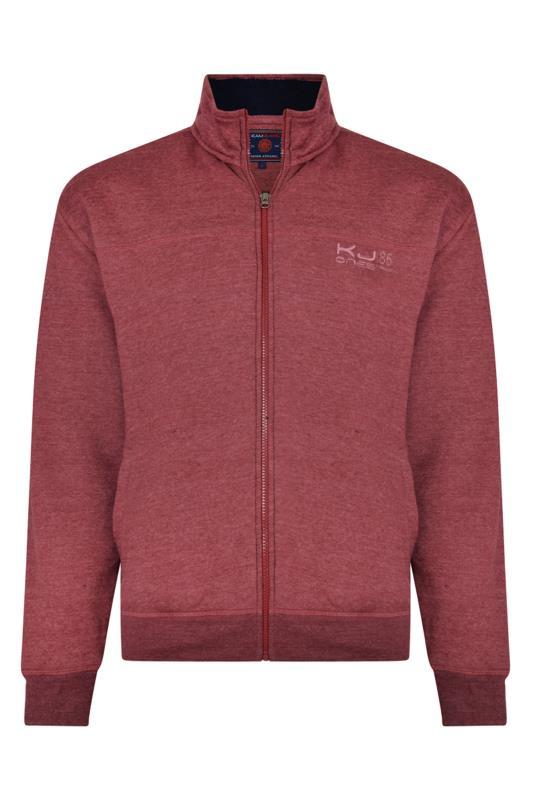 Men's  KAM Burgundy Fleece Lined Zip Through Sweatshirt