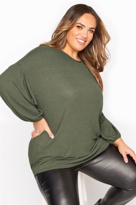 Plus Size  Khaki Soft Dipped Hem Knitted Top