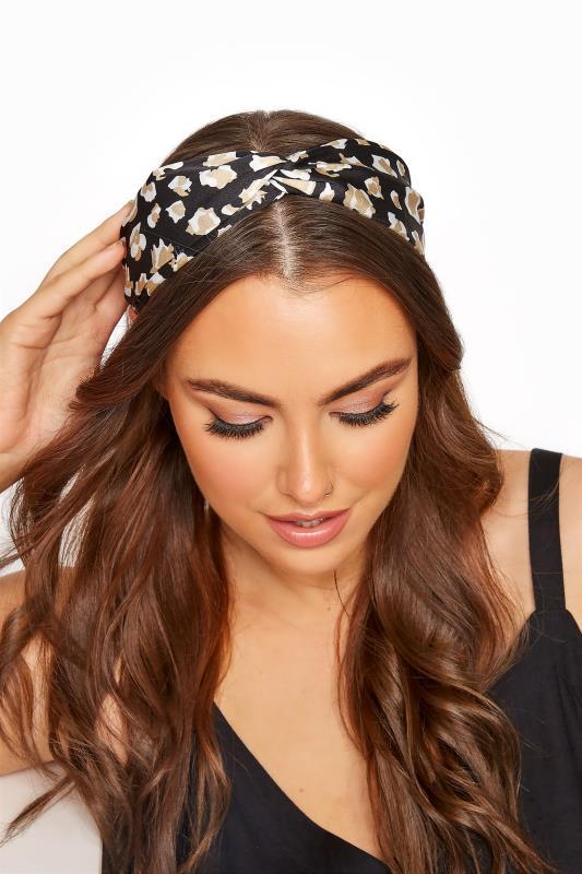Plus Size  Black Satin Leopard Twist Headband