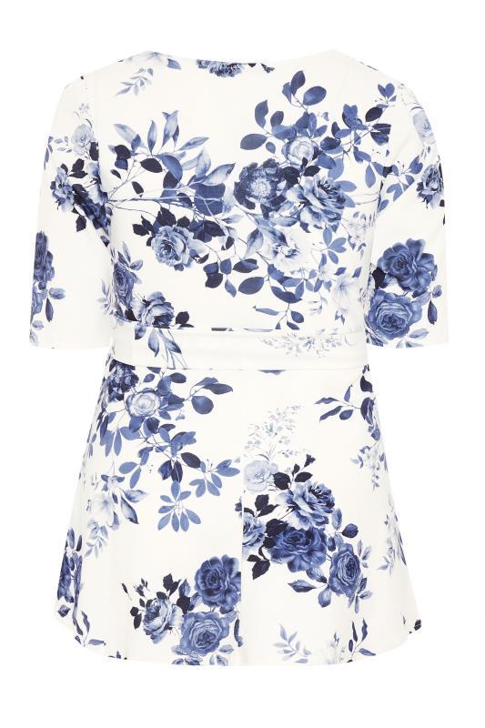 YOURS LONDON Blue Flower Square Neck Peplum Top_BK.jpg