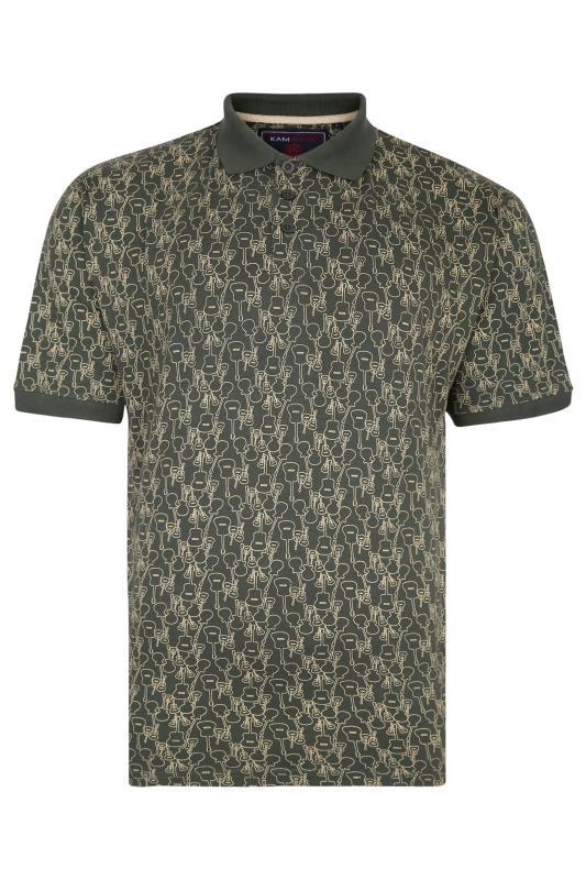 KAM Sage Green Guitar Print Polo Shirt