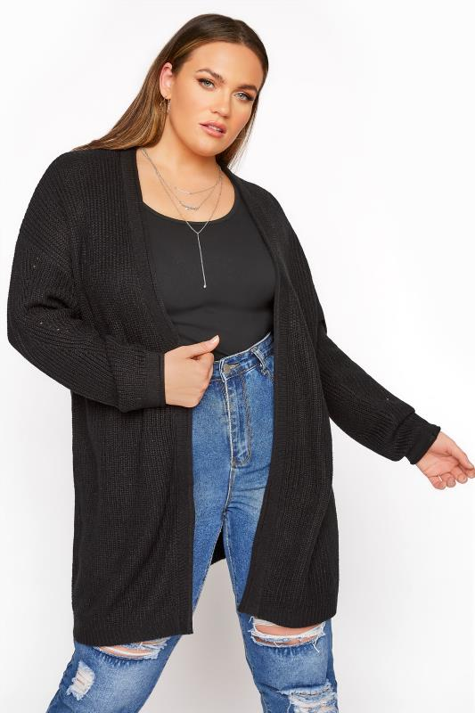 Black Knitted Pointelle Cardigan