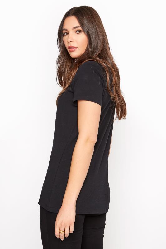 Black Cotton Stretch V-Neck T-Shirt