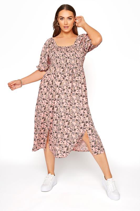 Pink Floral Shirred Front Split Hem Midi Dress_A.jpg