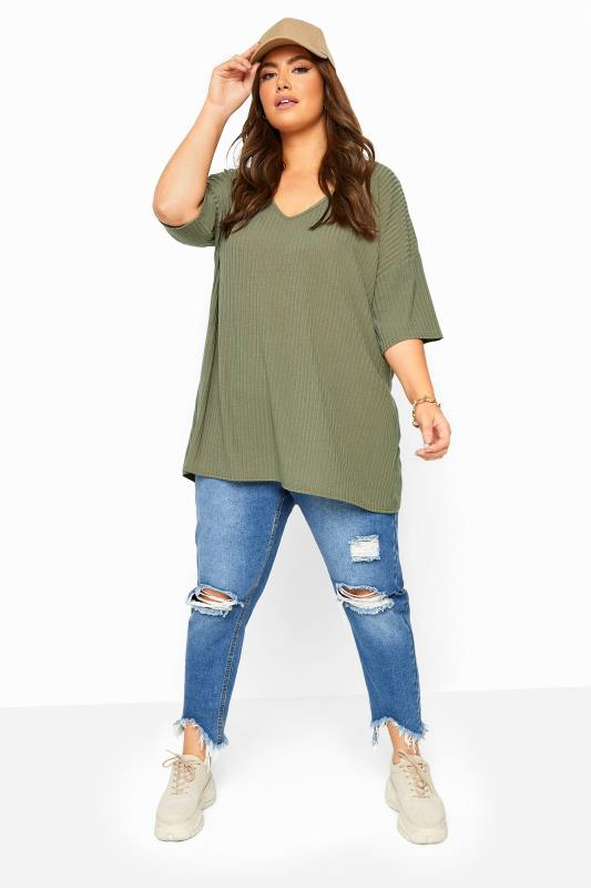 Khaki Ribbed Dipped Hem Top