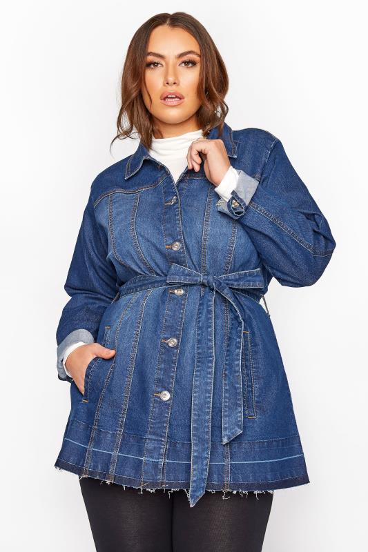Blue Belted Stretch Denim Jacket