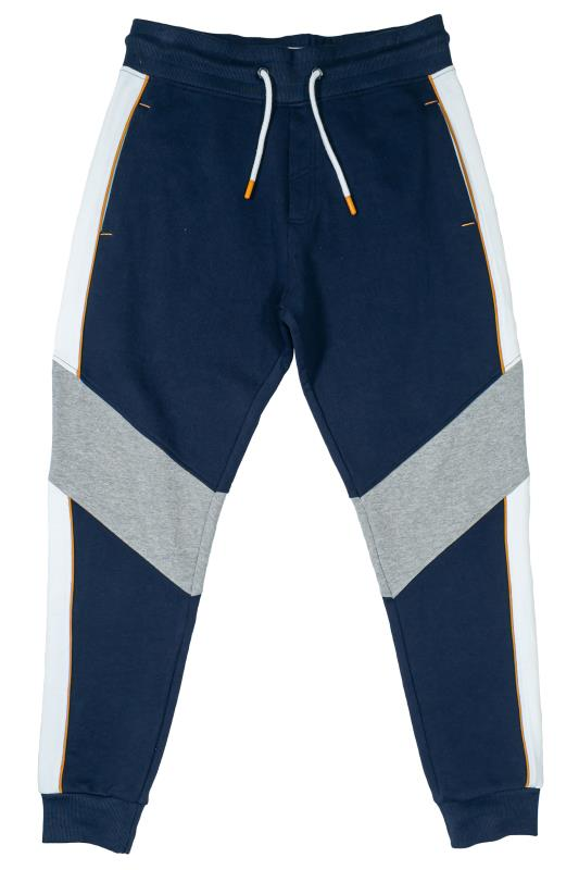 Plus Size  STUDIO A Navy & White Colour Block Joggers