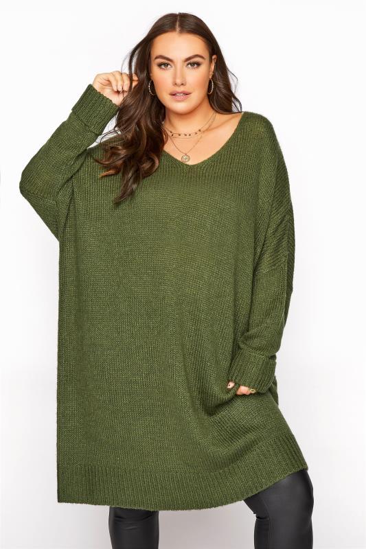 Tallas Grandes Khaki Drop Sleeve Knitted Jumper Dress