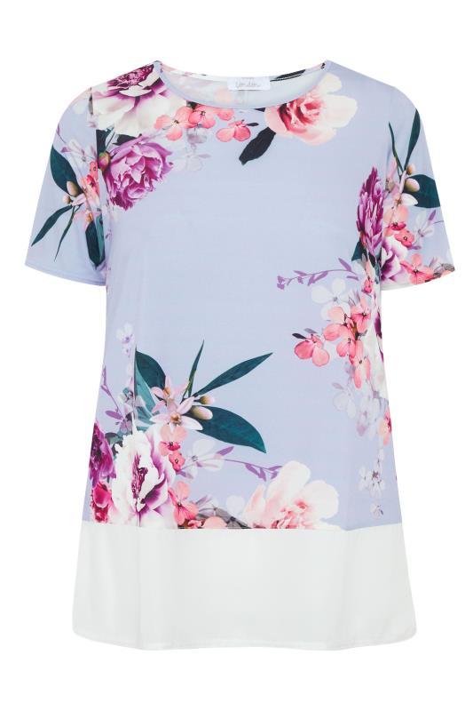 Plus Size  YOURS LONDON Blue Chiffon Hem Floral Top