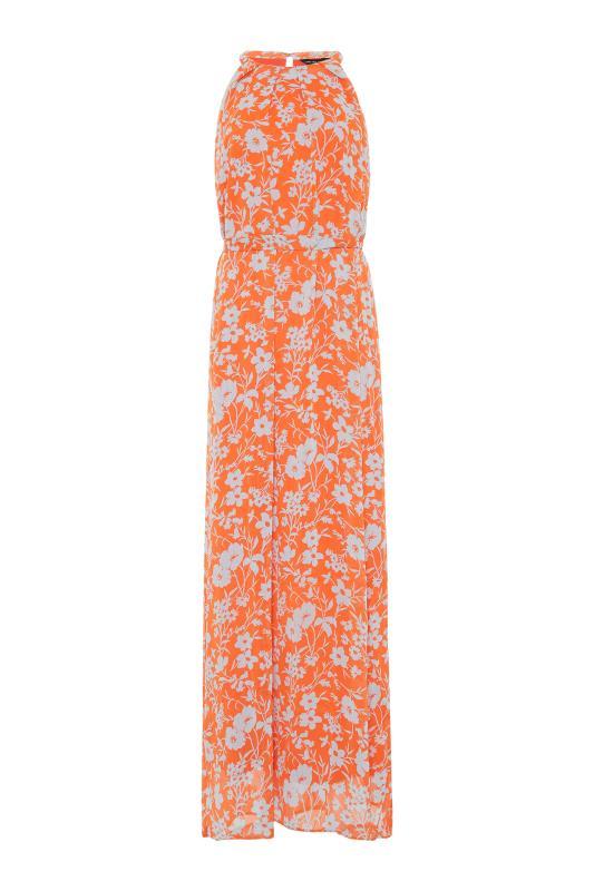 LTS Orange Floral Halter Neck Maxi Dress_F.jpg