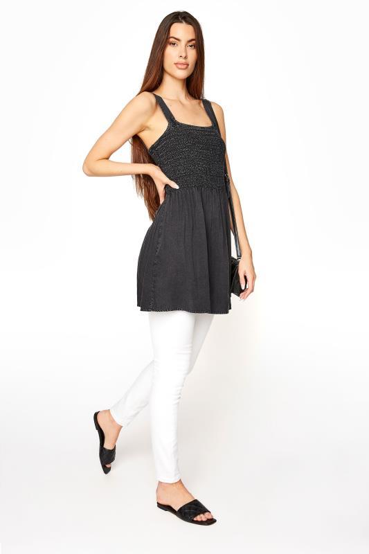 LTS Black Shirred Square Neck Vest
