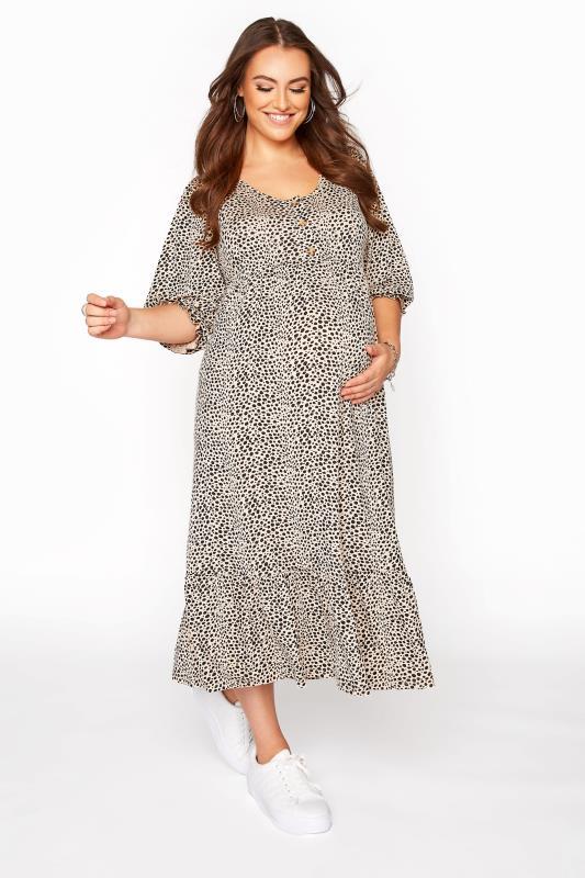 BUMP IT UP MATERNITY Beige Dalmatian Print Midaxi Dress_A.jpg