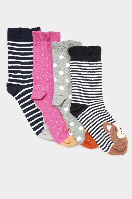 4 PACK Multi Animal Ankle Socks