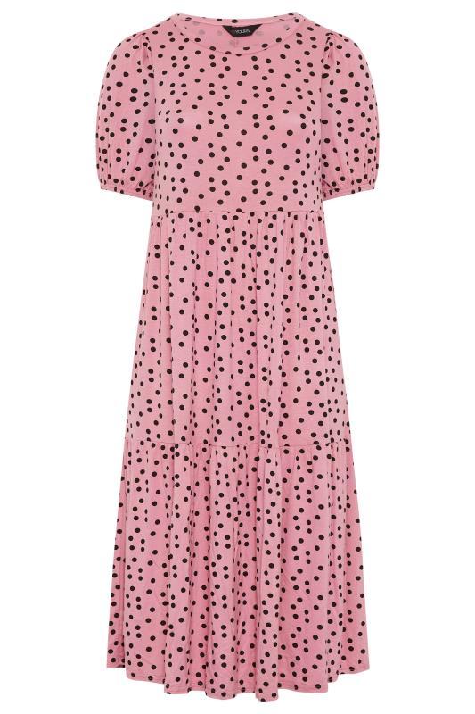 Pink Spot Print Puff Sleeve Midaxi Dress_F.jpg