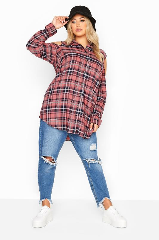 LIMITED COLLECTION Pink Check Cold Shoulder Shirt