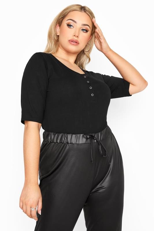 Plus Size  LIMITED COLLECTION Black Basic Popper Bodysuit