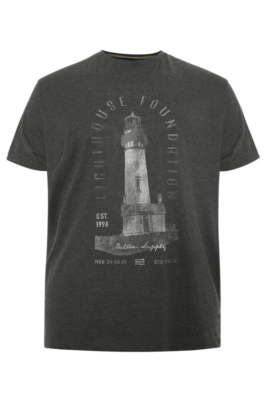 Men's Casual / Every Day NORTH 56°4 Charcoal Grey Lighthouse Printed T-Shirt