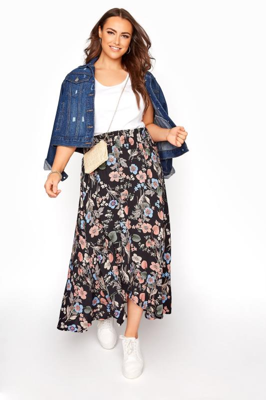Plus Size  Black Floral Tulip Skirt