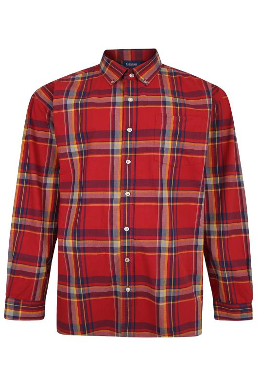 Großen Größen  ESPIONAGE Red Check Long Sleeve Shirt