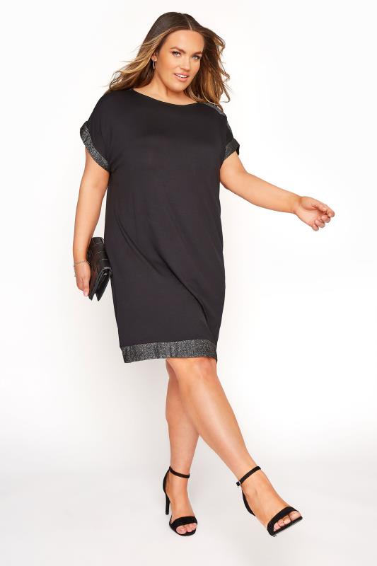 Black & Silver Glitter Trim Tunic