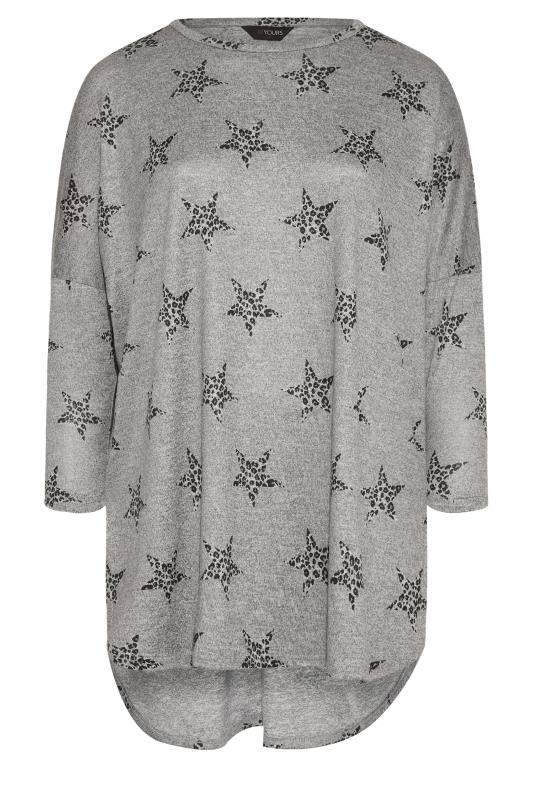 Plus Size  Grey Animal Star Knitted Top