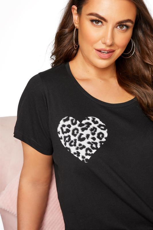 Black Leopard Print Heart Pyjama Shorts Set_D.jpg