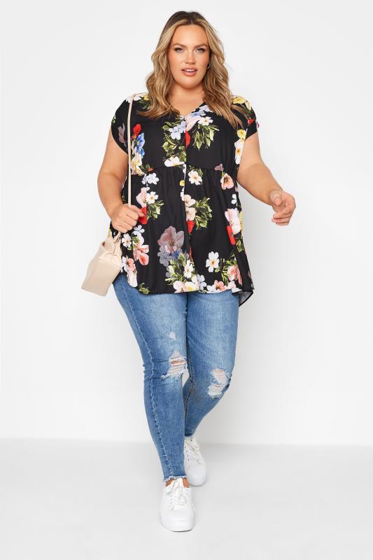 Black Floral Peplum Tunic Blouse_B.jpg